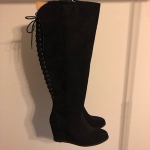 Wide-calf Above the knee boots black